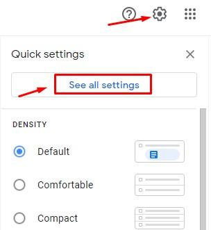 Menarik Pesan di Gmail Menu See all Setting