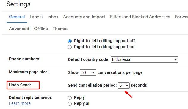 Menarik Pesan di Gmail Menu Undo Send
